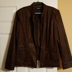 Dress jacket , ZIP UP, XL, brown